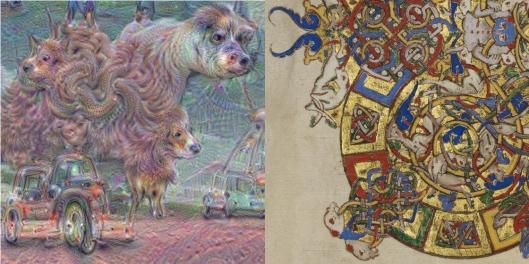 A sinistra l'elaborazione di Google e a destra un particolare della decorazione di un Breviario cassinese conservato al Paul Getty Museum